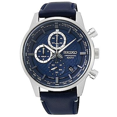 SEIKO 精工 CS時尚三眼計時真皮手錶SSB333P1-藍/42mm