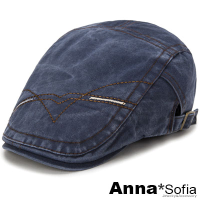 AnnaSofia 車線繪水洗牛仔 鴨舌帽小偷帽(藍系)