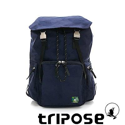tripose 迷彩系列輕量休閒多格層束口雙釦後背包 深藍