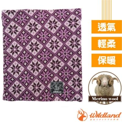 荒野 WildLand 新款 X-Buff Merino 雙層美麗諾羊毛5功能保暖魔術頭巾(圍脖.圍巾.頸套.口罩.帽子)_深紫色