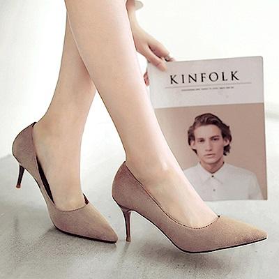 KEITH-WILL時尚鞋館 簡約優雅素面尖頭中跟鞋-灰色