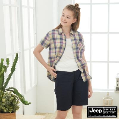 JEEP 女裝 多彩格紋短袖襯衫-多彩格紋