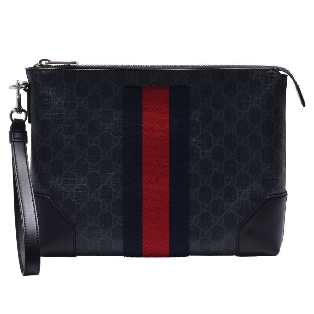 GUCCI 經典GG SUPREME防刮PVC GG壓紋藍紅藍織帶皮革飾邊掛腕拉鍊手拿包