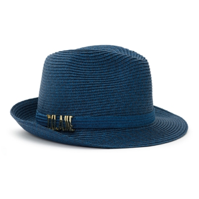 Alviero Martini 義大利地圖包 輕奢質感 經典編織草帽-午夜藍