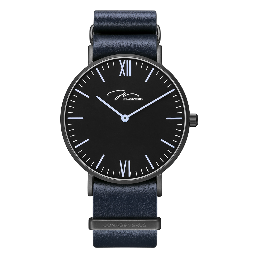J&V-簡尚系列-時尚超薄石英錶/深藍NATO錶帶/黑錶盤-Y01646-Q3.BBBLL