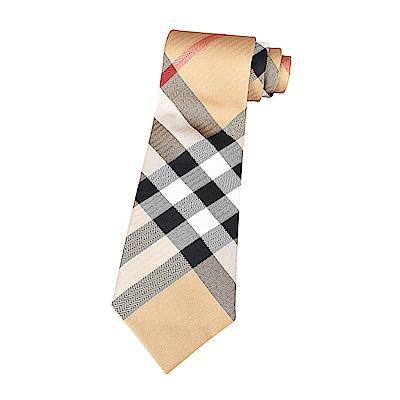 BURBERRY經典蠶絲緹花格紋設計領帶(經典黃)