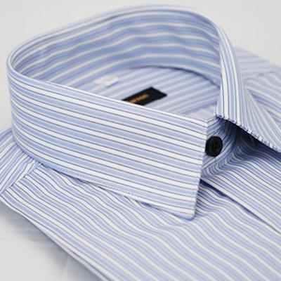 金‧安德森 藍色白條紋黑扣吸排窄版長袖襯衫fast