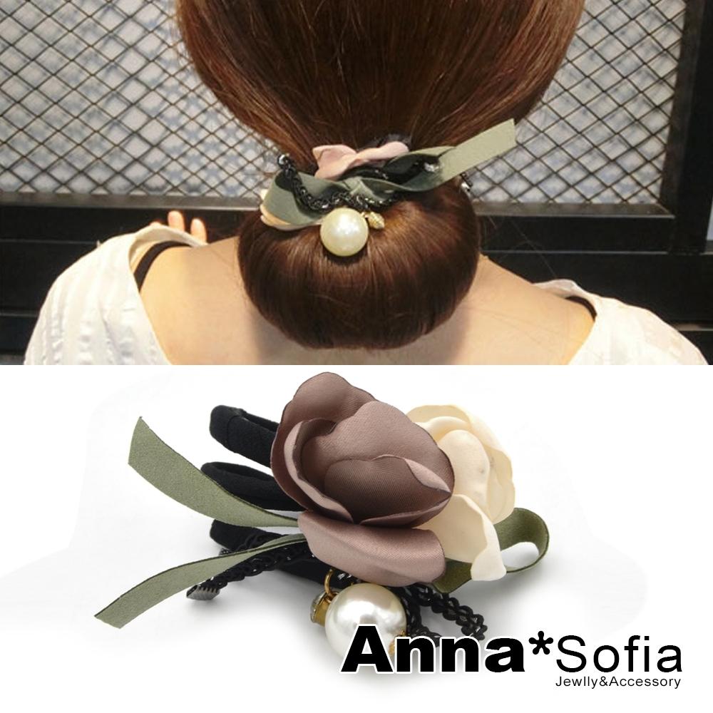 【2件7折】AnnaSofia 雙色花瓣垂珠 盤髮棒盤髮器髮圈(褐米綠系)