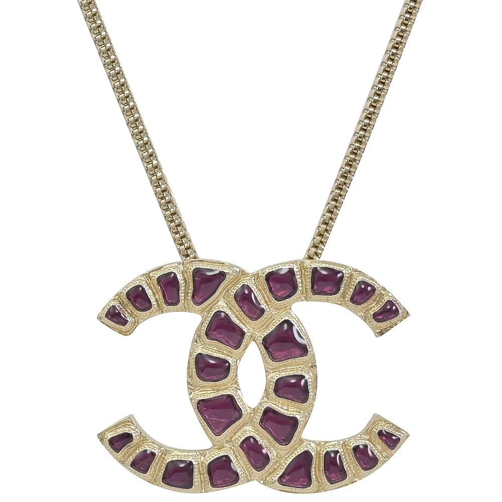CHANEL 紫水晶裝飾經典大CC LOGO項鍊(淡金)