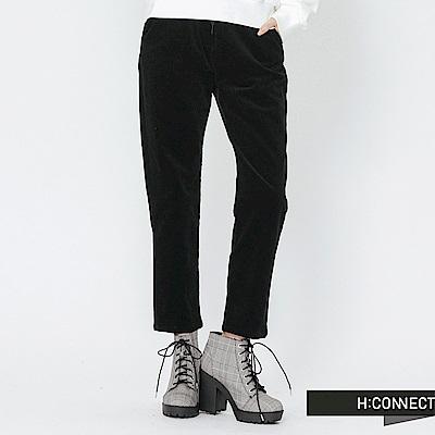 H:CONNECT 韓國品牌 女裝-質感毛絨直筒長褲-黑