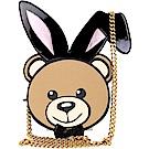 MOSCHINO Playboy 兔耳泰迪熊造型鍊帶包(黑色)