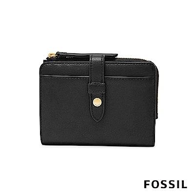 FOSSIL Fiona 真皮系列照片拉鍊短夾-黑色