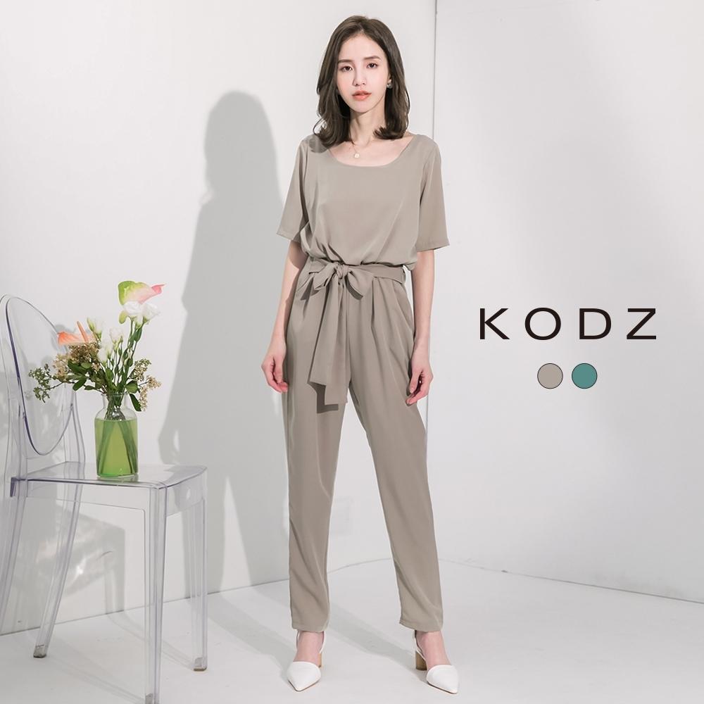 東京著衣-KODZ 俐落隨興綁帶打褶連身褲-S.M.L(共兩色)