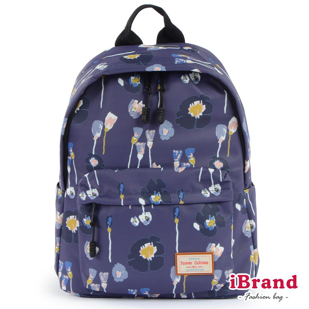 iBrand 學院風印花潮流防潑水口袋後背包-抽象花