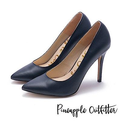 Pineapple Outfitter 性感尤物 素面尖頭高跟鞋-深藍
