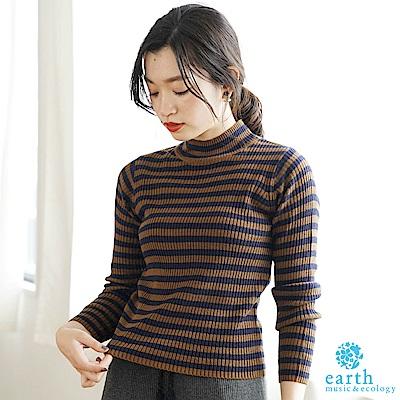 earth music 高領配色橫條紋針織上衣