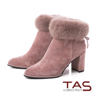 TAS兔毛滾邊蝴蝶結羊麂皮高跟短靴–玫瑰粉