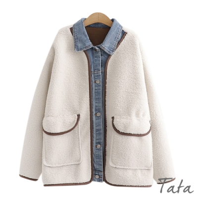 牛仔布拼接羊羔毛內麂皮外套 TATA-F