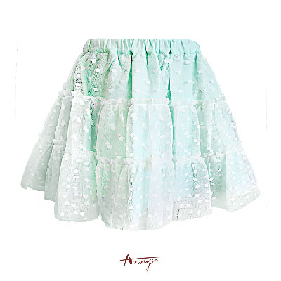 Annys清甜薄荷綠透視網紗點點短裙*6181綠