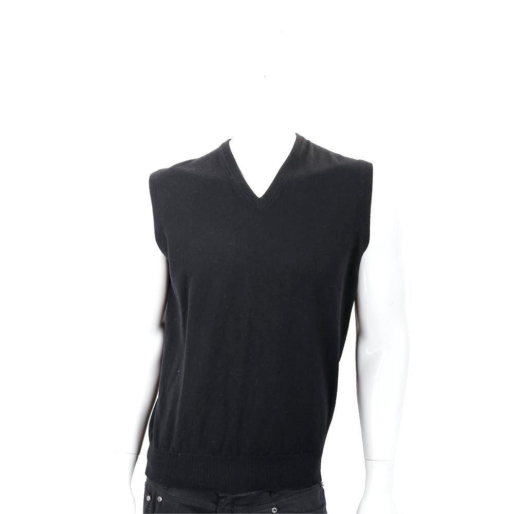 Andre Maurice 喀什米爾黑色V領羅紋細節羊毛背心(男款) @ Y!購物