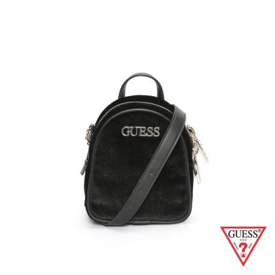 GUESS-女包-經典簡約絨毛鍊條斜背包-黑