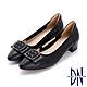 DN跟鞋_氣質方釦蝴蝶結真皮微尖低跟鞋-黑 product thumbnail 1
