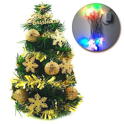 摩達客 1尺裝飾綠色聖誕樹(金球雪花系)+LED20燈彩光插電式(免組裝)