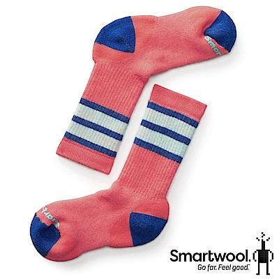 SmartWool 孩童健行中級避震條紋中長襪 珊瑚紅