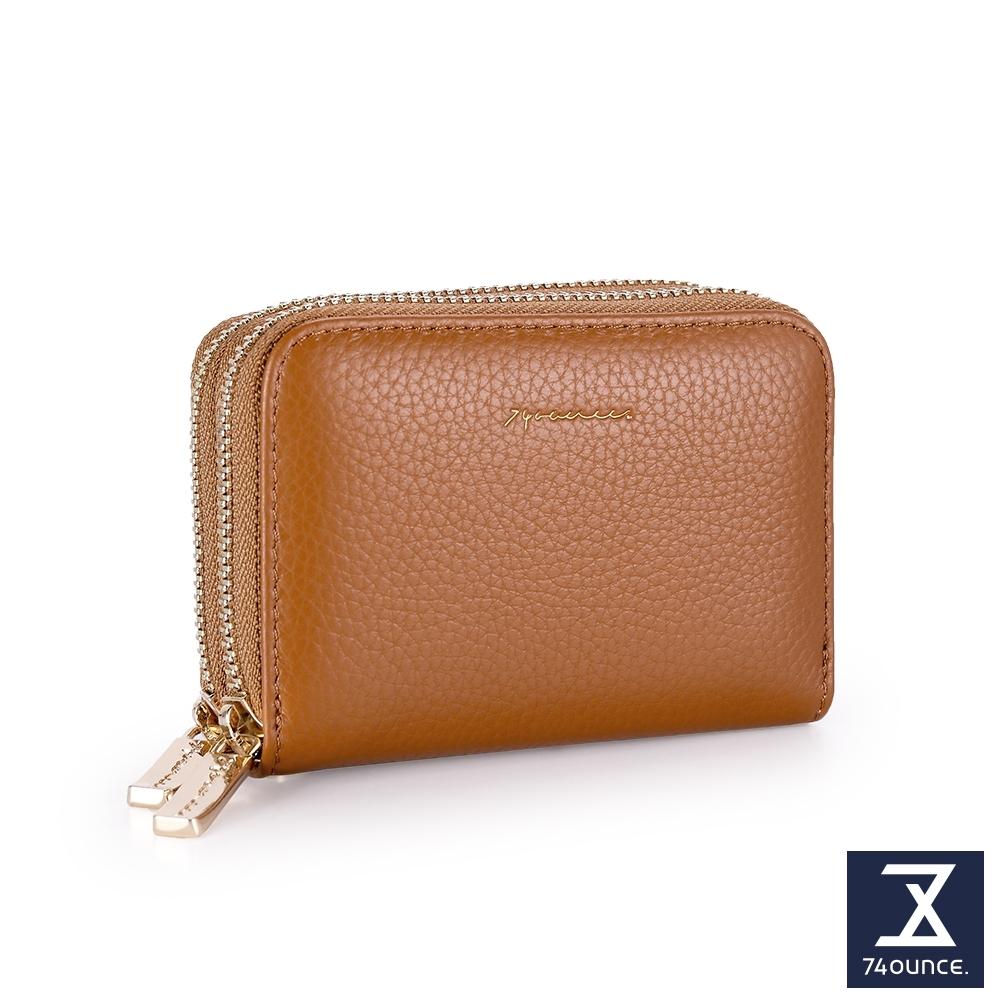 74盎司 Tender Lady 真皮防RFID雙層卡片零錢包[LN-765-TE-W]棕