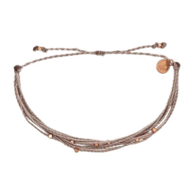 Pura Vida 美國手工 玫瑰金Malibu串珠 可可色可調式臘線衝浪手鍊手環