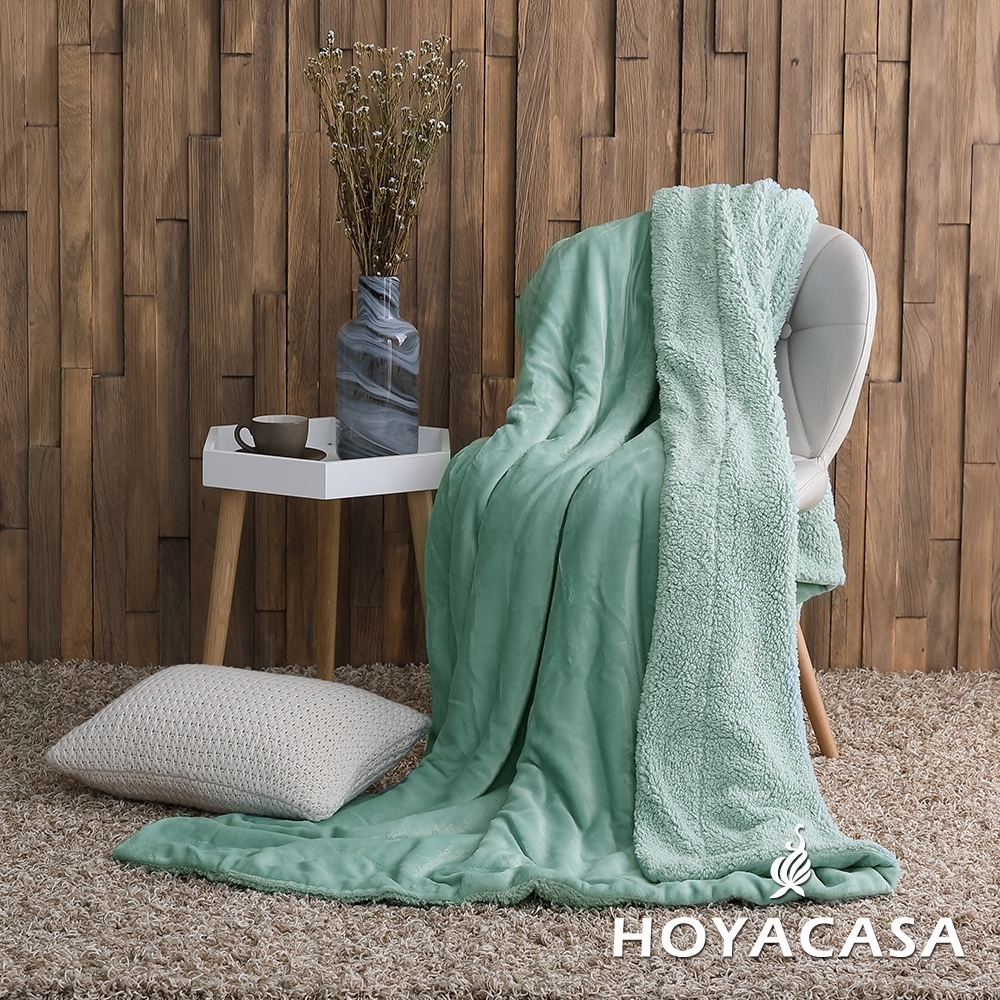 HOYACASA 法蘭絨x羊羔絨貼身即暖雙面毯(買一送一超值組) product image 1