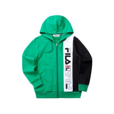 FILA KIDS 童長袖針織連帽外套-綠 1JKT-8439-GN