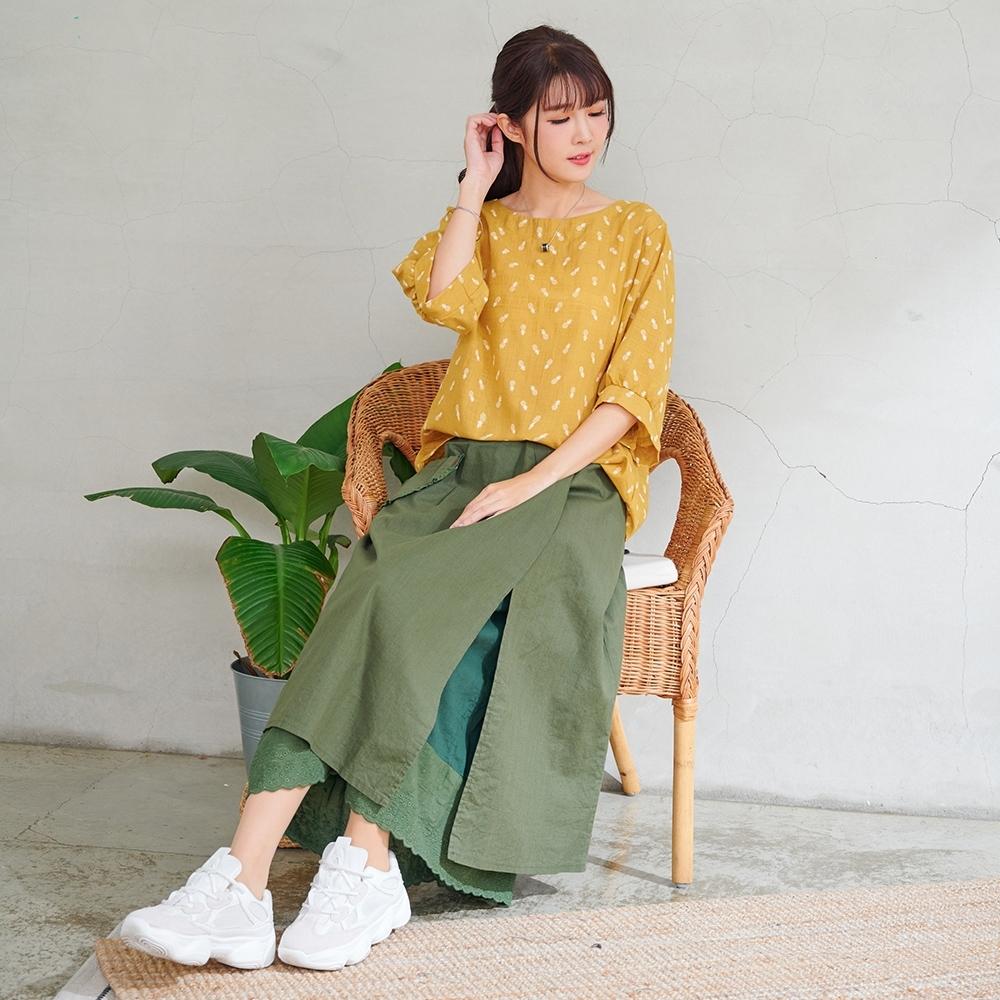 慢 生活 雙層斜叉蕾絲拼接棉質長裙- 綠/卡其