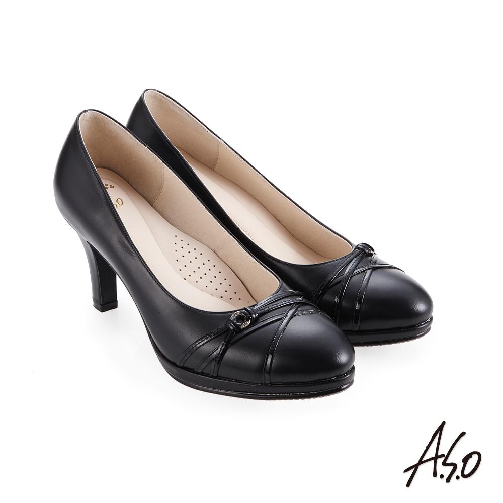 A.S.O 義式簡約 職場通勤女神專屬高跟鞋 黑