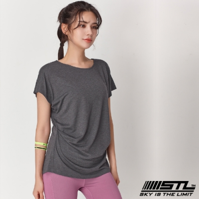 STL yoga Soft Stretch Modal 韓國莫代落肩短袖運動上衣 深灰