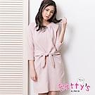 betty's貝蒂思 典雅腰間綁結口袋洋裝(淺粉)