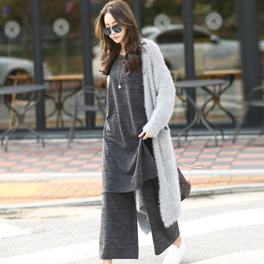 正韓 簡約混色長版上衣+彈性混色寬褲 兩件套 (共三色)-N.C21