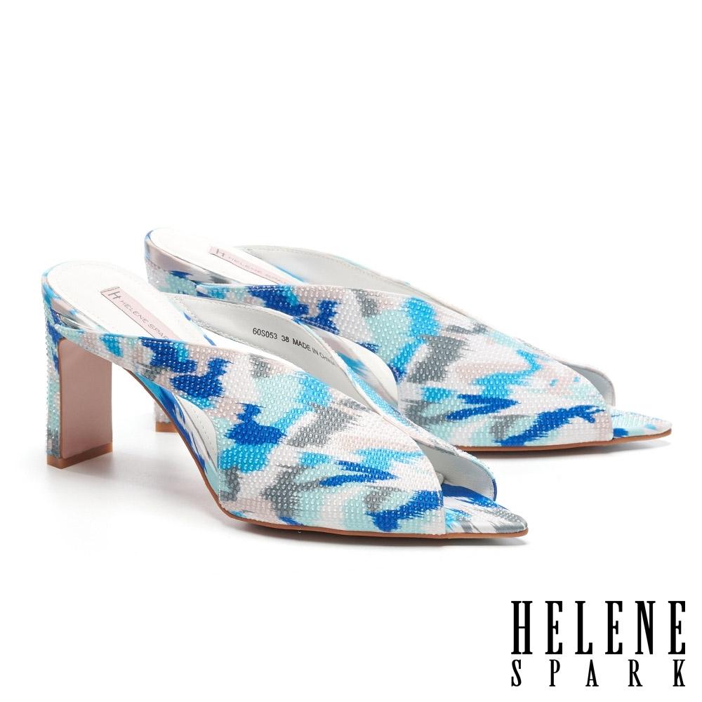 拖鞋 HELENE SPARK 繽紛夏日晶鑽花布美型高跟拖鞋-藍