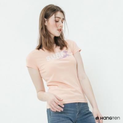 Hang Ten -女裝 - 有機棉-加州休閒造型短T - 粉