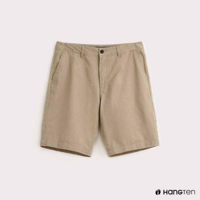 Hang Ten-男裝-純色素面百慕達短褲-卡其