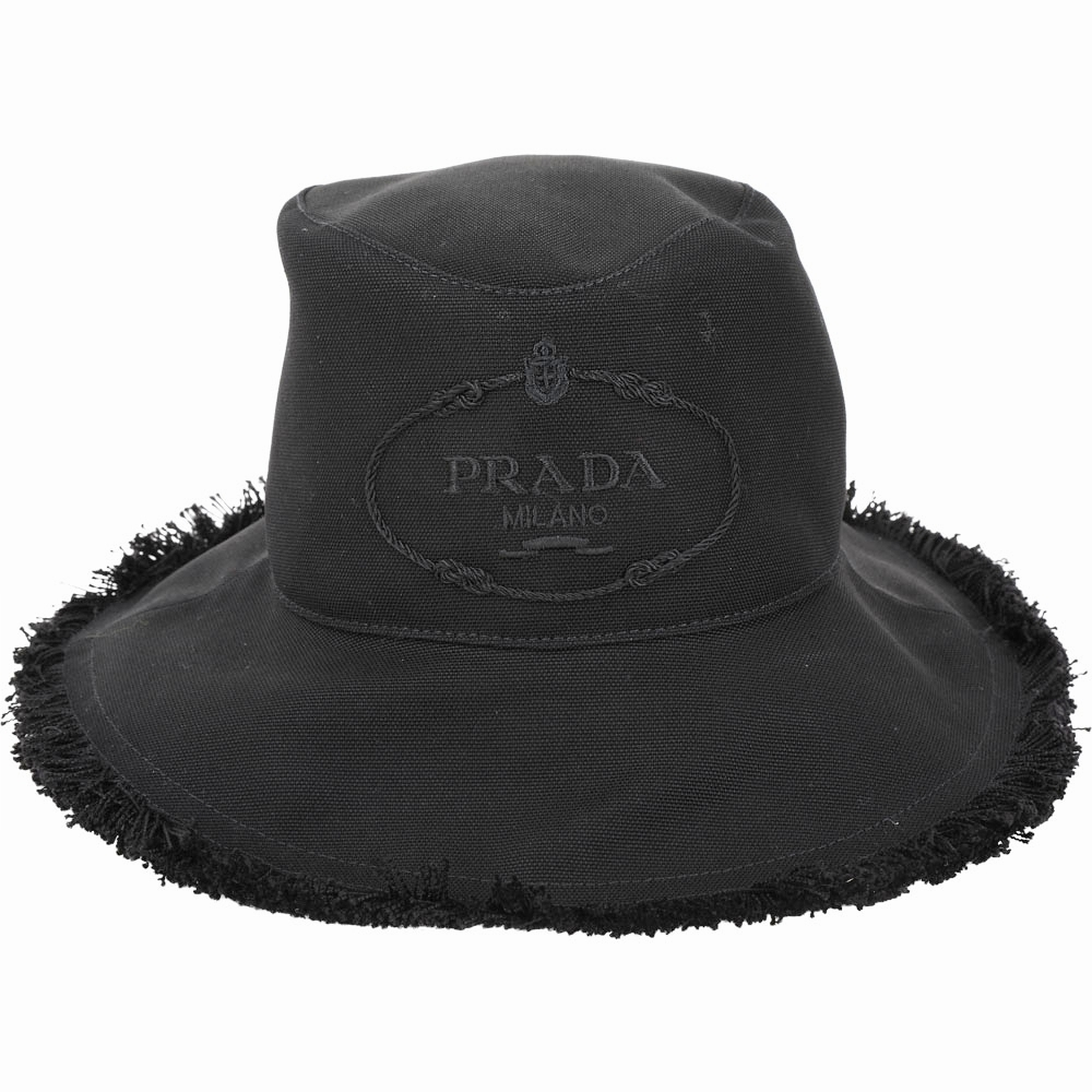 PRADA Canvas 家徽刺繡標誌帆布鬚邊漁夫帽(黑色)