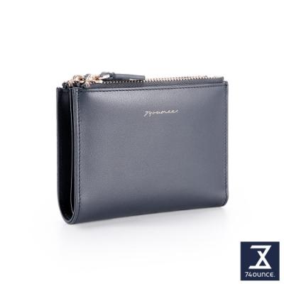 74盎司 Elegant 真皮雙拉鍊短夾[LN-757-EL-W]藍