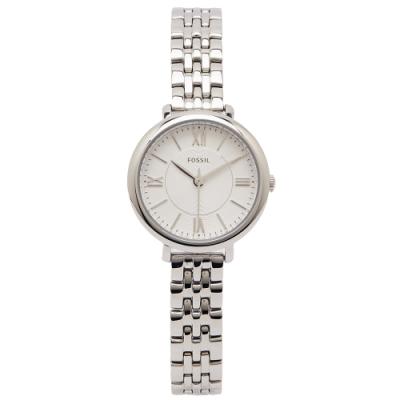 FOSSIL 簡約羅馬佳人款女性手錶(ES3797)-銀白面X銀色/26mm