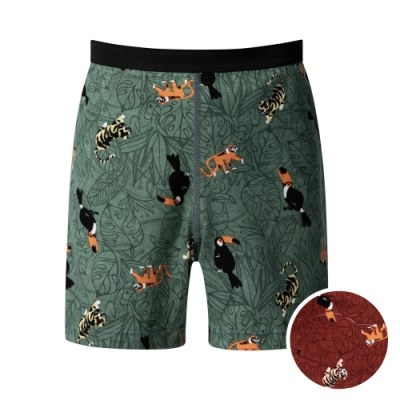 DADADO 熱帶森林 140-160男童內褲(棕) 品牌推薦 舒適寬鬆 四角男褲