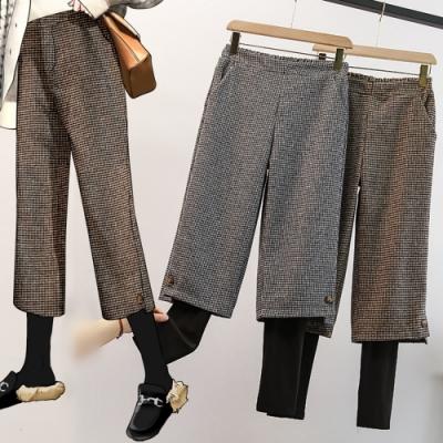 加絨加厚鬆緊腰假兩件毛呢闊腿褲L-4XL(共二色)-KVOLL