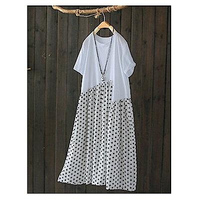 幾何波點拼接棉柔中長版洋裝-設計所在