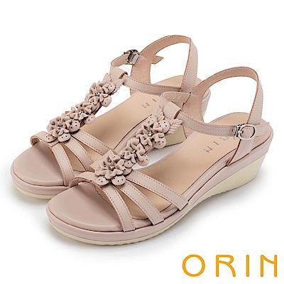 ORIN 夏日耀眼時尚 盛開花朵牛皮楔型涼鞋-粉色