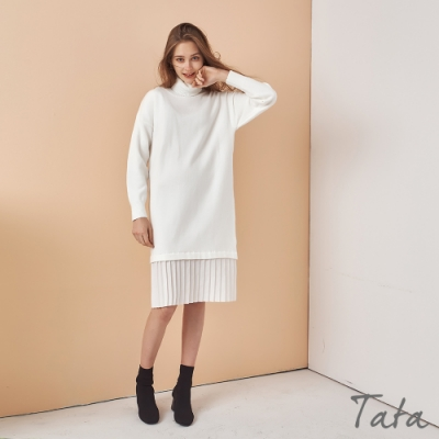 高領落肩下擺拼接百褶洋裝 TATA-(S~L)
