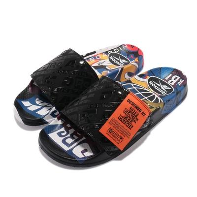 Reebok 拖鞋 Classic Slide 套腳 聯名 男女鞋 基本款 簡約 街頭藝術 情侶穿搭 夏日 黑 彩 G55625