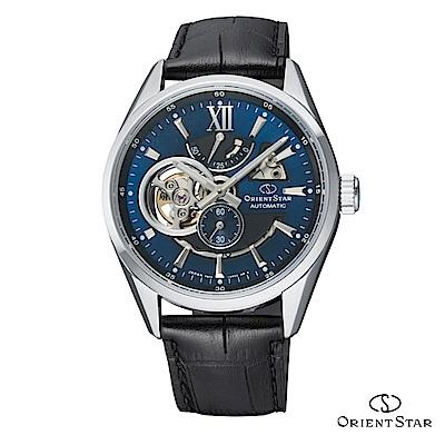 ORIENT STAR 東方之星 OPEN HEART系列 鏤空機械錶 皮帶款 藍色